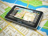 picture of gps navigation  - GPS navigation system on the city map - JPG
