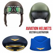 foto of goggles  - Retro aviator pilot leather helmet with goggles - JPG