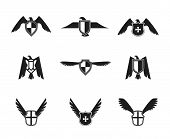 stock photo of spread wings  - Eagle wings spread lift up and open symbolic protective imperial shield pictograms collection black isolated vector illustration - JPG