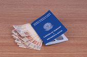 stock photo of brazilian money  - Brazilian work document and social security document  - JPG
