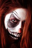 image of face painting  - Beautiful young girl portrait with face painting - JPG