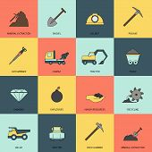 foto of power-shovel  - Mining and mineral extraction flat icons line isolated vector illustration - JPG