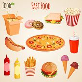 image of hamburger  - Fast junk food icons flat set of french fries hamburger soda drink isolated vector illustration - JPG
