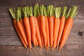 pic of carrot  - fresh carrot bunch on grungy wooden background - JPG