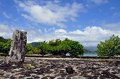 stock photo of french culture  - A culturally significant site in the south of raiatea island in French Polynesia - JPG