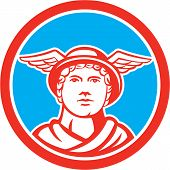 image of patron  - Illustration of Roman god Mercury patron god of financial gain commerce communication and travelers wearing winged hat facing front set inside circle on isolated background done in retro style - JPG