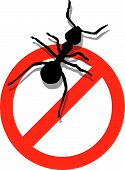 stock photo of pest control  - Illustration of forbidden to enter ants - JPG