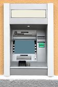 foto of automatic teller machine  - Automatic Teller Machine with Blank Screen in the wall