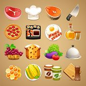 stock photo of brinjal  - Food and Kitchen Accessories Icons Set1 - JPG