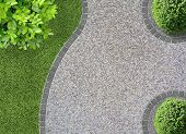 stock photo of cobblestone  - garden design detail with curves seen from above - JPG