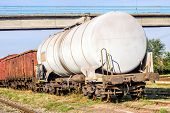 stock photo of boxcar  - Freight wagons stationing in the train station in the afternoon - JPG