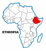 pic of ethiopia  - Ethiopia outline inset into a map of Africa over a white background - JPG