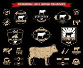 picture of working animal  - Lots of vector beef design elements for your work - JPG