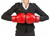 image of fist  - Cropped image of businesswoman in boxing gloves holding fist to fist - JPG