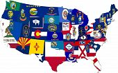 America Map Of 48 States Collage With Flags