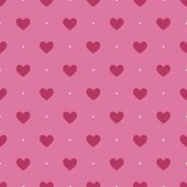 Постер, плакат: Seamless pattern with light vinous hearts on pink background
