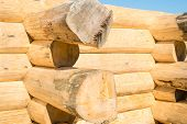 stock photo of scribes  - Construction of the handcrafted scribe fit log house - JPG