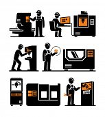 picture of machine  - Industrial machine worker operator icons  - JPG