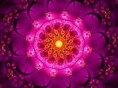 picture of sanskrit  - Purple oriental fractal computer generated abstract background - JPG