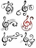 stock photo of g clef  - Music decorative  elements for your design - JPG