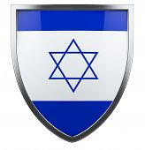 picture of israeli flag  - Israel flag design shield icon isolated on white - JPG