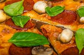 pic of salami  - Rustic pizza with salami mozzarella and spinach on a clay plate - JPG