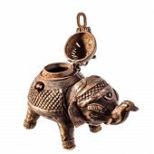 pic of indian elephant  - an ancient elephant shaped indian censer isolated over a white background