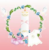 picture of baptism  - composition with characteristic symbols of baptism in the Catholic Church - JPG