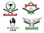 foto of bat wings  - Sporting emblems depicting baseball balls and crossed bats against wings - JPG