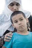 image of middle eastern culture  - Arabic Muslim Middle Eastern woman with little son - JPG