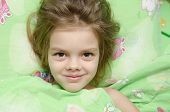 image of 6 year old  - Six year old girl woke up in the morning in her crib - JPG