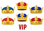 stock photo of crown jewels  - Gold royal crowns inlaid colorful jewels with red and blue velvet in cartoon style for historical concept and heraldry design - JPG