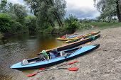 pic of kayak  - kayaking on the river on a summer day - JPG