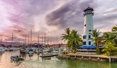 picture of boat  - Row of luxury yachts at the harbour in Phuket boat lagoon Thailand - JPG