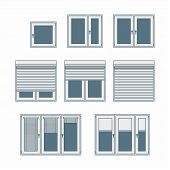 foto of jalousie  - Plastic window with jalousies or blinds as a vector illustration - JPG