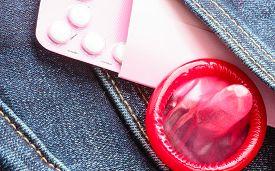 stock photo of contraceptives  - Healthcare medicine contraception and birth control - JPG