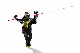 stock photo of paintball  - Isolated female paintball player is playing the game - JPG