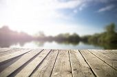 picture of pier a lake  - old - JPG