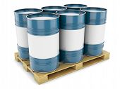 stock photo of ling  - Barrels steel blue pallet tray isolated oil tanks water metal - JPG