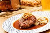 picture of mashed potatoes  - beef cutlet with mashed potatoes and cabbage - JPG