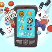 picture of dice  - Mobile phone games concept with casino bowling ping - JPG