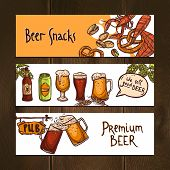 picture of jug  - Horizontal beer banners sketch set with snacks jugs bottles and pub sign isolated vector illustration - JPG