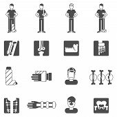 image of fracture  - Fracture bone black icons set with human anatomy and healthcare symbols isolated vector illustration - JPG