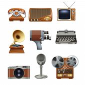 pic of nostalgic  - Retro nostalgic pictograms collection of antique mechanical typewriter and gramophone vinyl records player abstract isolated vector illustration - JPG