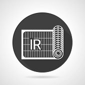 pic of irs  - Flat round black vector icon with white contour roll of IR grid of underfloor heating on gray background - JPG