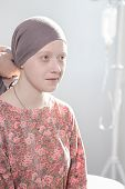 image of leukemia  - Portrait of cancer teenage girl wearing headscarf - JPG