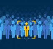 image of recruitment  - ?hoice best suited employee. Yellow human with red tie sign as a symbol of chosen one by recruiter. HR job seeking concepts. The chosen people. White crow, black sheep - an exception to the masses - JPG