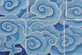 stock photo of wall cloud  - cloud wall tile texture in Chinese style - JPG