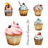 Постер, плакат: Watercolor cupcakes set isolated