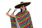 pic of maracas  - Handsome man in vivid poncho holding maracas isolated on white - JPG